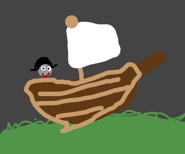 Ship sailing on great plains