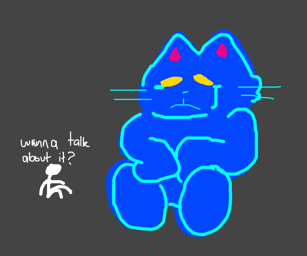 Giant blue cat crying