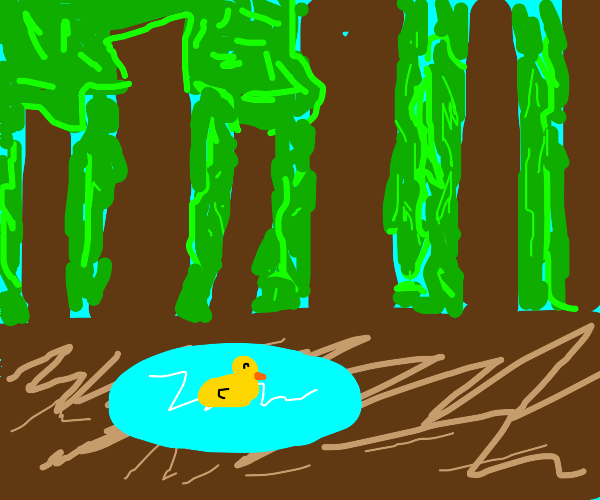 Happy duck in a forest puddle