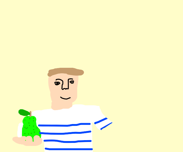 boy in a blue striped shirt with a pear