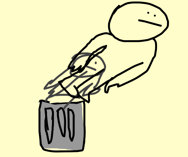 Man flies away in trashcan