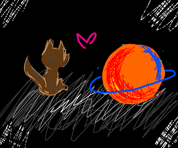 Cat and planet are in love.