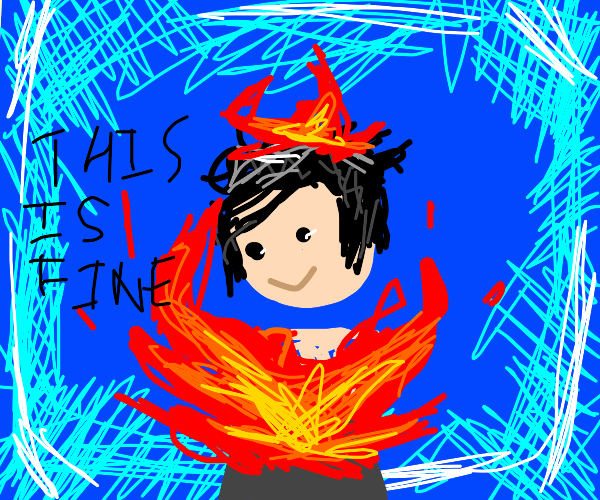 Man being burnt alive smiling