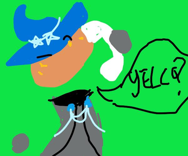 potato witch picks up telephone