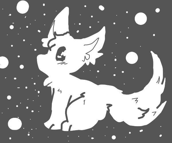 Cute fox with poka dots around it