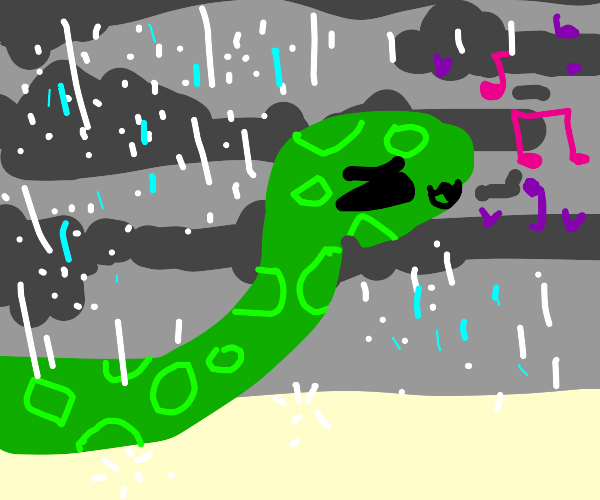 Snake singing in the rain