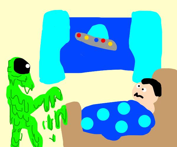 Slimy alien invades kid's bedroom