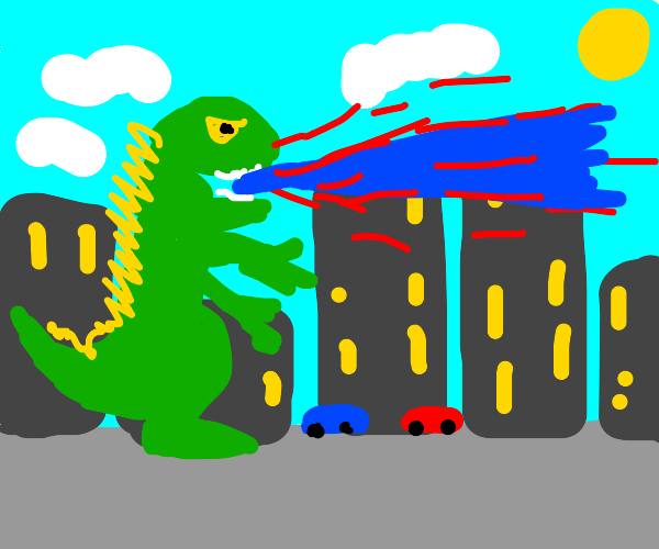 Godzilla firing lasers out of his mouth!