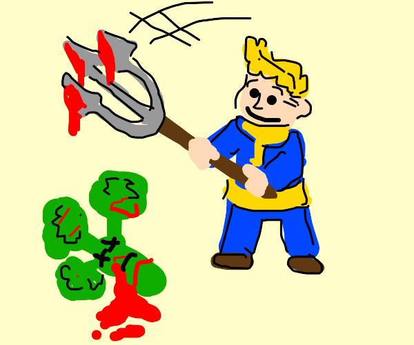 Vault boy kills broccoli with a fork