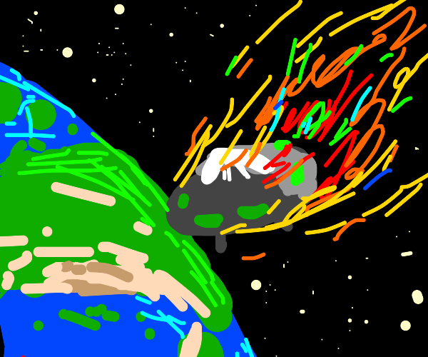 UFO falling down to Earth