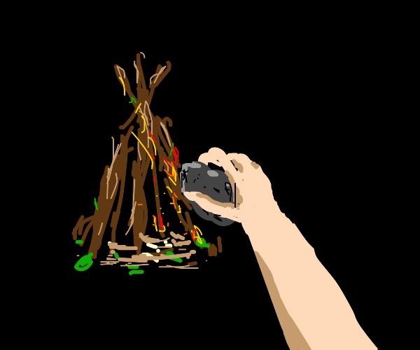 Making fire by rubbing rock against wood