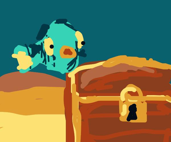 Fish looks at locked treasure under the sea