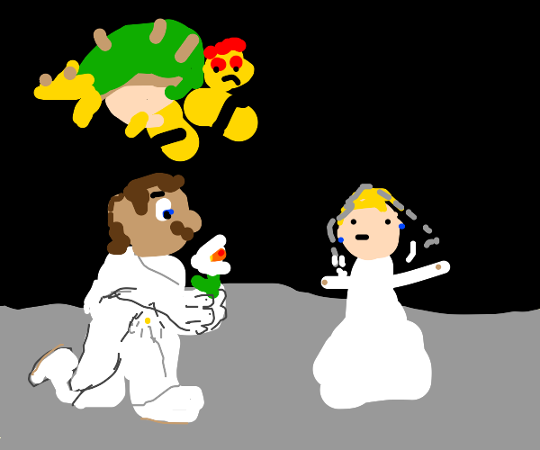 Mario and Bowser fight for Princess Peach