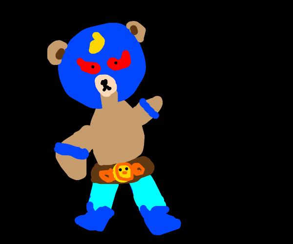 macho with teddy bear for head