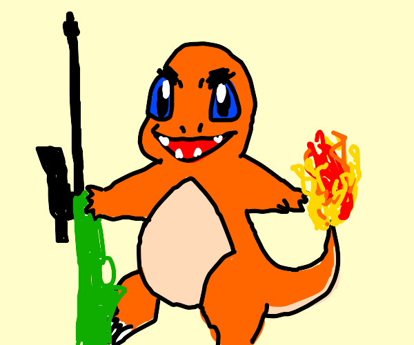 Charmander with a rifle