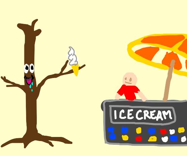A giant stick man who likes to eat ice cream