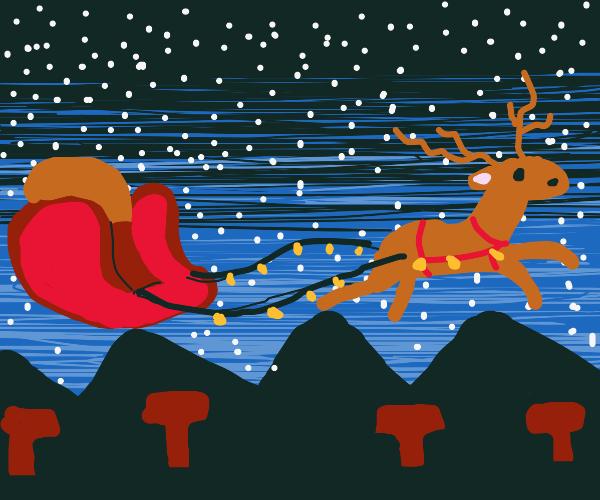 Santa's sleigh is empty! Did Santa fall out?