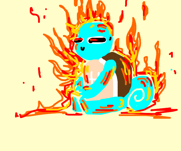 squirtle on fire