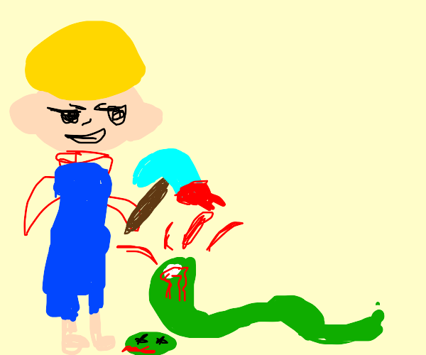 Bob the Builder kills snake with pick axe