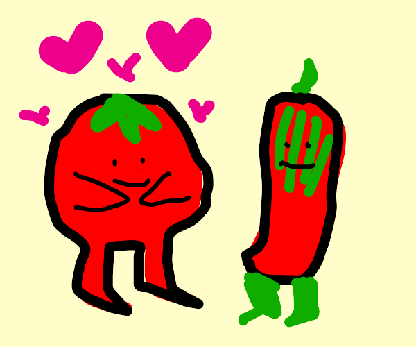 big tomato man loves peppers