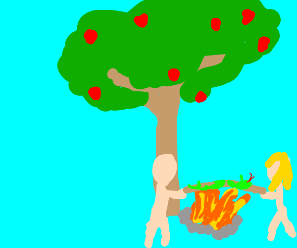 Adam & Eve roast The Serpent in a campfire
