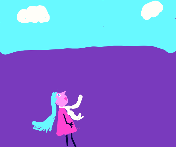 Girl in dress and scarf looking at sky