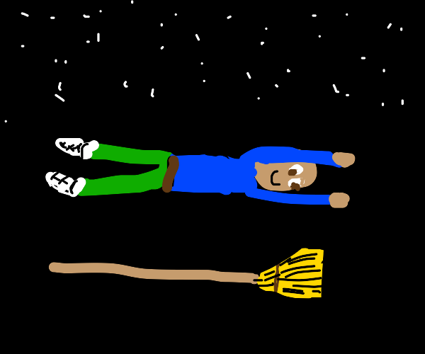 Man flying next to his also flying broomstick
