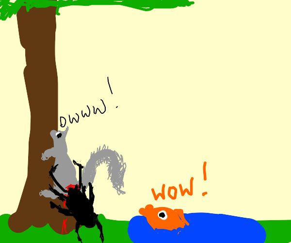 Bug eats squirrel, fish goes WOW