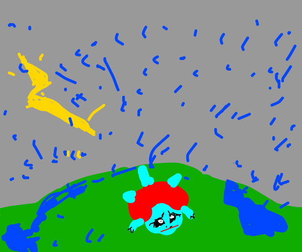 squirtle on a hill during a storm