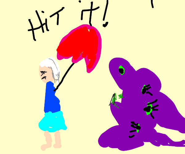 hit that weird purple thing with yr parasol!