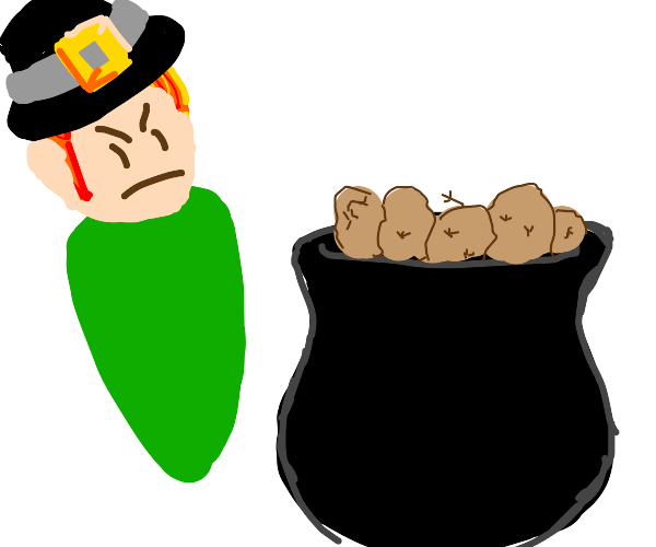leprechaun with pot of potatoes