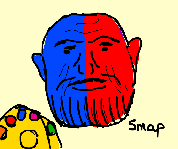 Red and blue Thanos heads