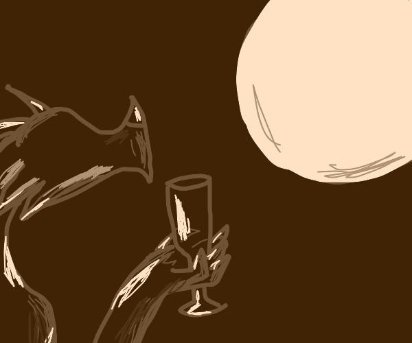 Dragon having wine