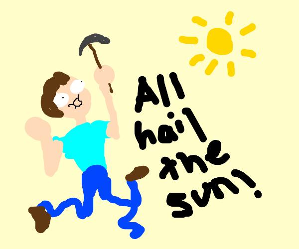 miner praises the sun