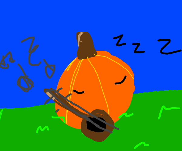 Musical sleeping pumpkin in a field