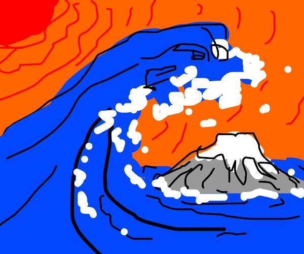tsunami consumes mountain