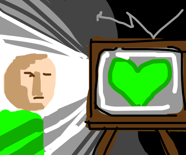 A green heart on old-times TV's screen