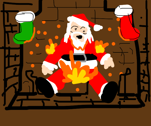 Santa coming down a chimney with a fire below