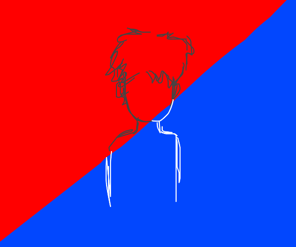 a man who is half red, half blue