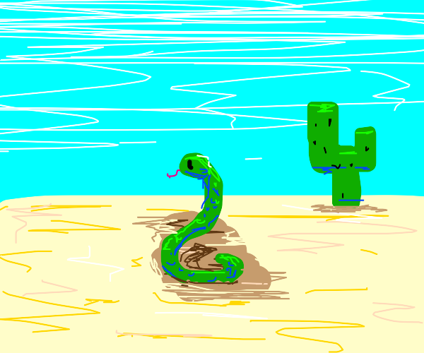 A snake on dirt in the desert