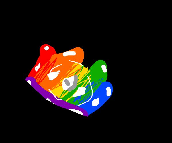 A multicoloured crown.