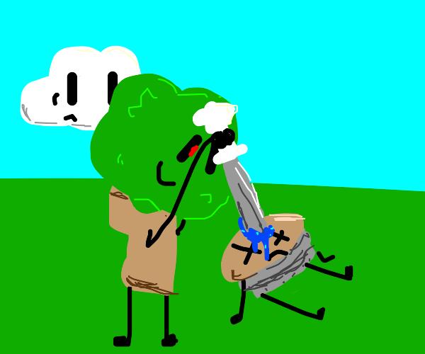 Tree uses Cloud's Sword to kill dude