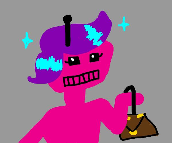 Fashionable pink robot has nice hair