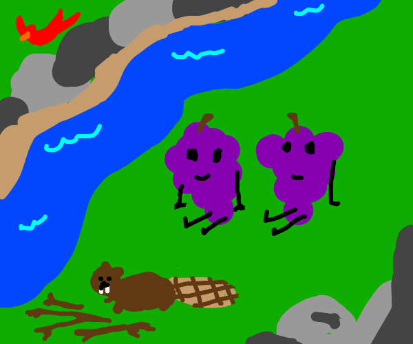 Happy grape people enjoying nature