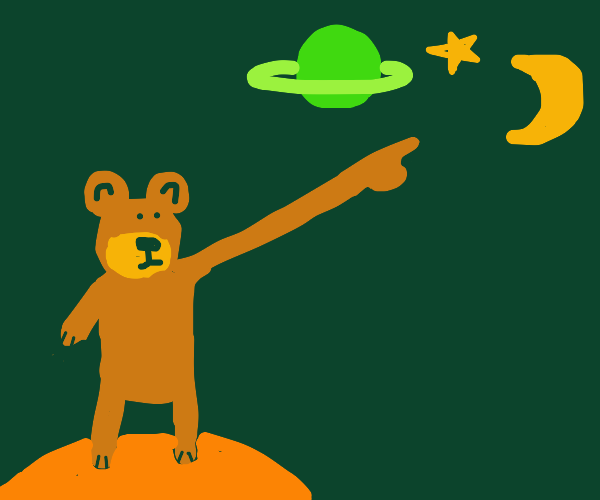 Skinny bear with long arm points at space