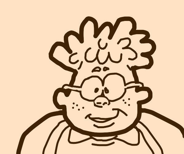 A chubby kid with orange hair and glasses.