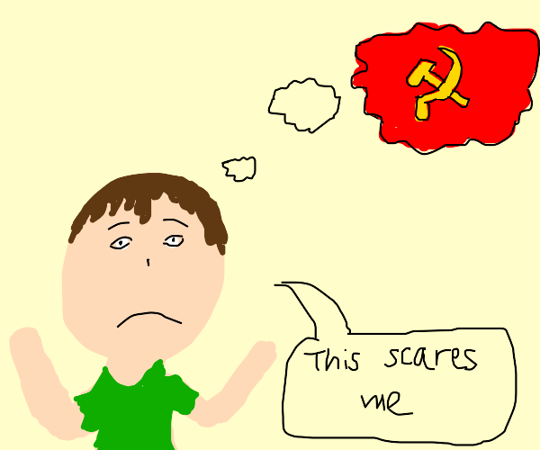 man is scared of communism