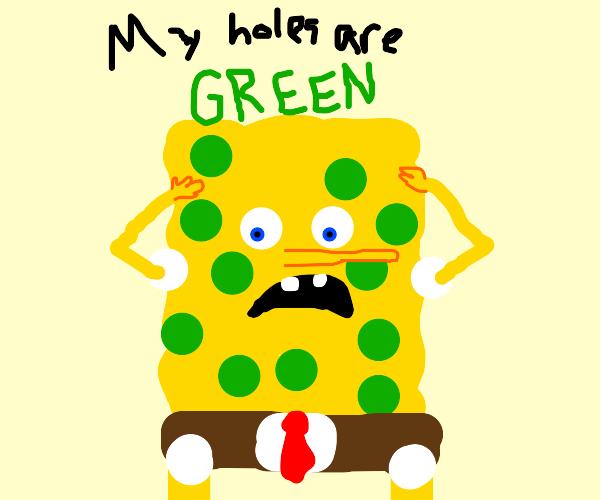 spongebob with green holes