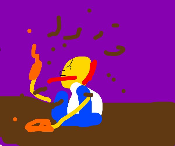 Angry Scotsman digging with his hand on fire