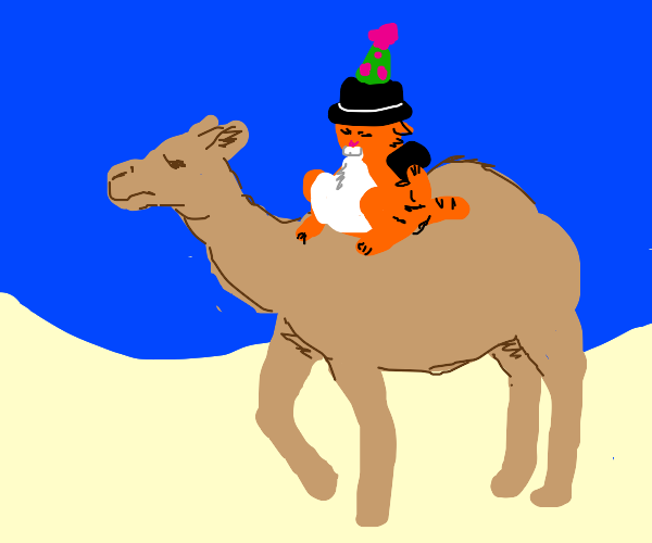 Camel w/cat in the hat hat talks on old phon